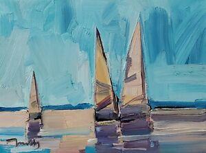 JOSE TRUJILLO Oil Painting IMPRESSIONISM 9X12 BOATS SAILBOATS CONTEMPORARY NR