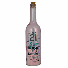 Happy 21st Birthday Iridescent Light Up Bottle Illuminated Bottles Gift