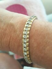 """Vintage 14K Gold Fill over Sterling Silver 925 CZ Tennis Bracelet- 7.5"""""""