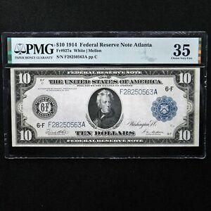 1914  $10 Federal Reserve Note Atlanta, Fr # 927a, PMG 35 Choice Very Fine