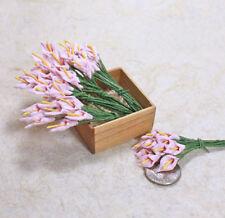 50pcs Pink Arum Calla Lily Scrapbook Crafts Mulberry Paper Flower Wedding Cards