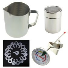 BARISTA KIT MILK THERMOMETER JUG SHAKER STENCILS -COFFEE LATTE CAPPUCCINO IN-107