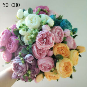 Artificial Roses Flowers Fake Silk Peonies Bouquet Home Wedding Party Decoration