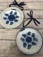Set of 2 Blue White Porcelain Floral Design Plates * Wall Decor Ribbon