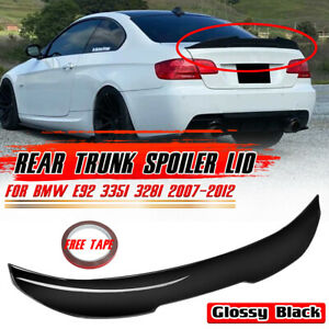 FOR BMW 3 SERIES E92 335i COUPE M4 STYLE GLOSS BLACK REAR BOOT TRUNK LIP SPOILER