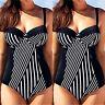 Plus Size Women Stiped Monokini Push Up Swimsuit Swimwear Bathing Suit Beachwear