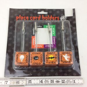 2001 Halloween Place Card Holders Cube Based Spider Bat Skull Ghost Set of 4 New