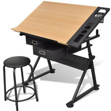 Drawing Drafting Desk Tiltable Tabletop Workstation Table Stool Storage Drawers