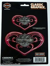 Harley-Davidson 2 Pink Hearts Classic Graphix Stickers Decals NEW