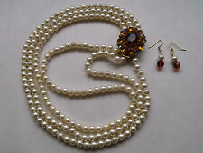 VINTAGE 3 ROW CREAM LUSTER FAUX PEARL SIDE CLASP NECKLACE & EARRINGS C1970'S