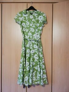 Hobbs Ladies Green & White Floral Linen Summer Cross Over Dress Size 10