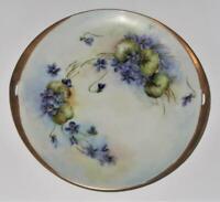 "Hand Painted Signed Elise Olson Purple Flowers & Gold Handled Cake Plate, 9 5/8"""