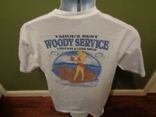 TAHOE'S BEST WOODY SERVICE LIBATION LUBE SHOP T SHIRT PIN UP GIRL SZ MED