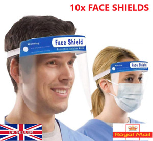 10 X FACE SHIELD FULL FACE VISOR PROTECTION MASK PPE SHIELD CLEAR PLASTIC