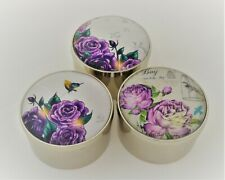 Floral Design Glass Top Round Trinket Box. Set of 3 pc. Silver Plated
