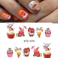 Nail Art Water Decals Transfers Stickers Summer Ice Cream Sundae Cupcake (474)