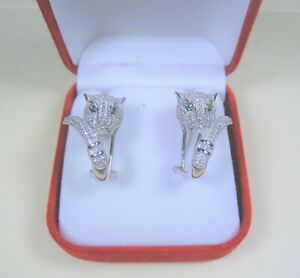 PANTHER COUGAR EARRINGS White & Emerald color CZ White Gold/925 STERLING SILVER