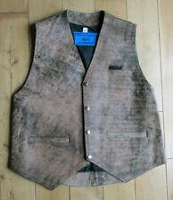 Adult Phantasm Plain Leather Custom Style Waistcoat  Brown Distressed Look