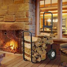Firewood Log Cart Carrier Dolly Trolley Wood Mover Hauler Rack Outdoor Indoor