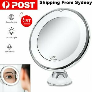 10x Magnifying Makeup Cosmetic Beauty Bathroom Mirror with LED Light 360° Spin