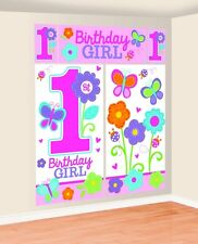 1ST FIRST BIRTHDAY SWEET PINK BUTTERFLIES PARTY SCENE SETTER WALL DECORATING KIT