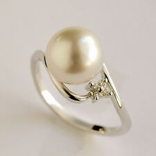 SOUTH SEA PEARL DIAMOND RING 9.1mm CULTURED PEARL 14K 585 WHITE GOLD SIZE M NEW
