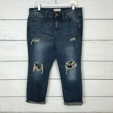 Madewell Boyjean Womens Jeans Size 29 Blue Distressed Cuffed 100% Cotton