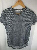 Trenery Blue White Short Sleeve Top Linen/Nylon Womans Size Xs