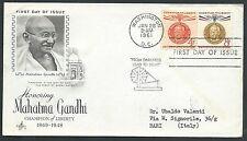 1961 USA FDC GANDHI TIMBRO ARRIVO - V