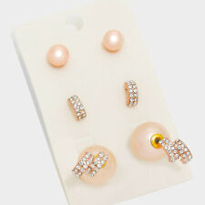 3 Pair Double Sided Crystal Faux Pearl Stud Front Back Rose Gold Tone Earrings