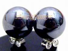 10mm Natural Black Round Natural Stone HEMATITE Earrings for Women Stud ear161
