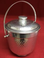 Vintage NASCO Italy Hammered Aluminum MCM Double Wall Ice Bucket w/ Lid