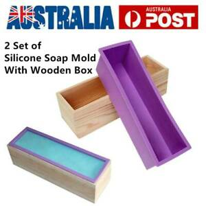 2 Set Wood Loaf Soap Mould with Silicone Mold Cake Making Wooden Box 1.2kg Soap