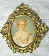 Vintage Oval in Diamond Shape Dome Glass Filigree Picture Frame