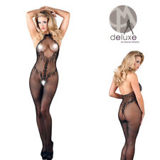 Tuta Catsuit Mandy mistery Deluxe Spitzen Catsuit colore nero con cavallo aperto