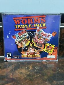 Worms Triple Pack (PC, 2002) Great Condition World Tour Armageddon