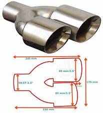 """UNIVERSAL STAINLESS EXHAUST TAILPIPE LEFT 2.5"""" IN YFX-0260-SP35L-Toyota 2"""