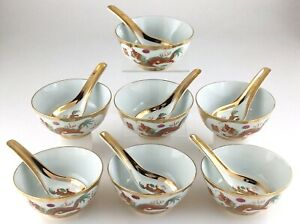 Set of 7 Vintage Chinese Red Dragon Phoenix Gold Encrusted Bowls and Spoons T683
