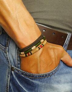 Mens Beads Bracelet Leather Beaded Man Surfer Wristband Rope Wrap For Men Set