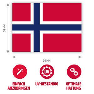 4 - 10 Stück - Aufkleber Norwegen-Flagge / Norwegen-Fahne, 7,4 x 5,2 cm