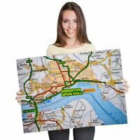A1 - Kingston Upon Hull Yorkshire Travel UK Map 60X90cm180gsm Print  #45474