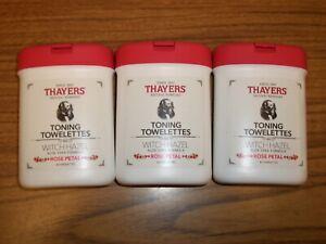 3-Thayers Toning Towelettes Witch Hazel Aloe Vera Formula Rose Petal 30 Count ea
