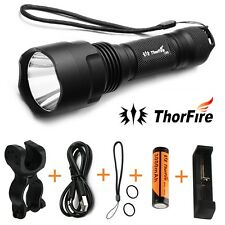 ThorFire C8s 5Modes 900LM LED Flashlight +18650 Battery+Charger+Bike Light Mount