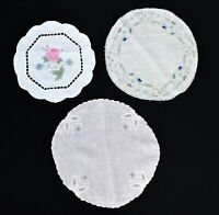 3 Vintage Embroidered Doilies Pink w Butterflies Blue Floral & Painted Pink Rose