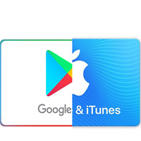 Google Play and iTunes Gift Card $10 $15 $25 $50 $100 200$ (No Email Delivery)