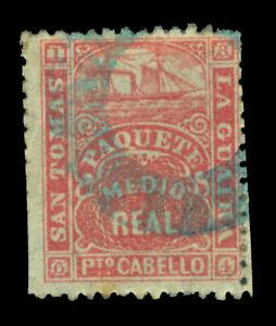 DWI 1864 Steamship - St.Thomas - La Guaira - ½r  rose  Yvert # 7 used