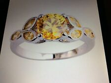 CITRINE STERLING FLOWER DESIGN RING SIZE 6/7/8/9/10