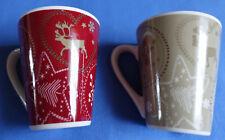 2 Tassen, Motiv: Weihnachten, Sterne, Rentiere, Schneeflocken; unbenutzt