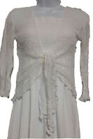Womens Tie Up Front 3/4 Sleeve Fine Knit Bali Bolero Crochet Shrug Crop Cardigan