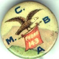 Early 1900s pin American Bald EAGLE pinback PHONE Banner M C B A